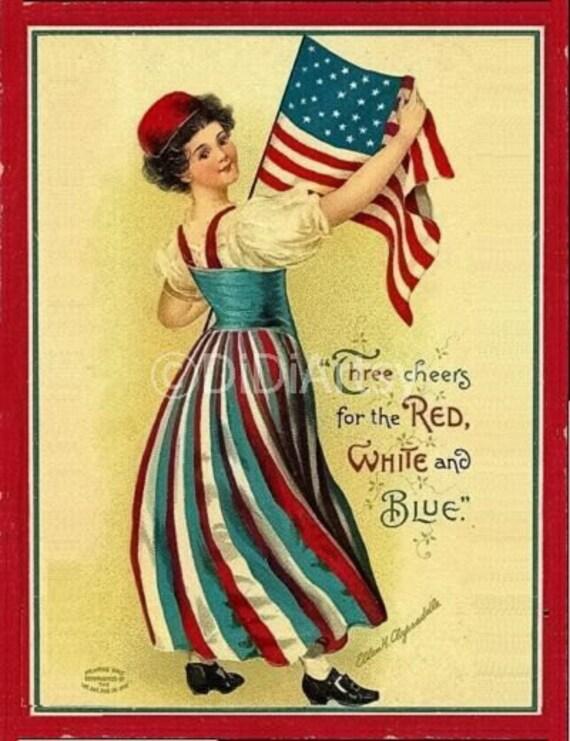 4th of July /Patriotic Girl Holds American Flag /Patriotic/ Independence Day /Vintage Postcard/ Art Print Magnet