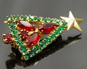 OnHold Beautifully Crafted Vintage Red Marquis And Green Rhinestone Christmas Tree Pin