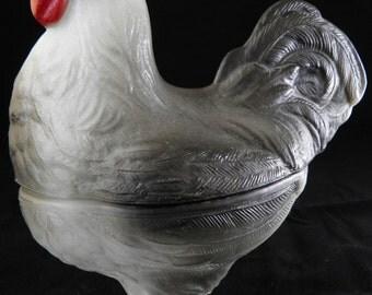 Vintage Westmoreland Standing Rooster Lidded Dish