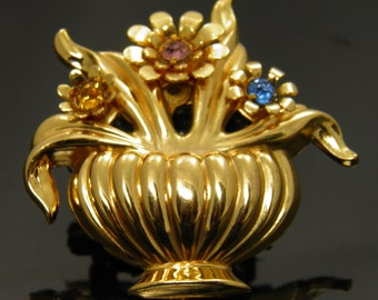 Vintage Collectible Coro Flower Basket Brooch Pin