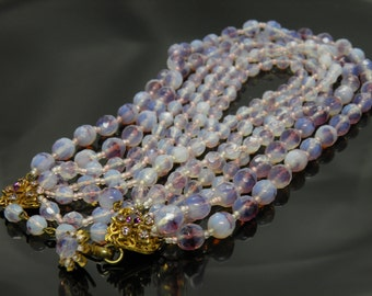 Vintage Miriam Haskell Necklace With Six Strands Of Purple Beads And Beautiful Rhinestone Clasps