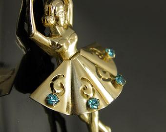 Vintage 1940s Rare Coro Prima Ballerina Gold Tone Pin Brooch With Aqua Blue Rhinestones