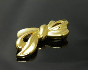 Vintage Napier Bow / Ribbon Brooch Pin In Shiny Gold Tone Setting