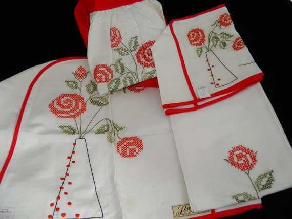 Vintage Paragon Needlecraft Kitchen Appliance Covers, Apron And Towels Five Piece Set With Red Cross Stitch Pattern