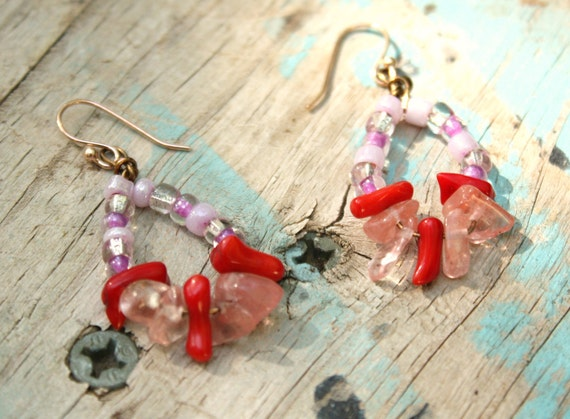 Coral Crystal Glass Earrings