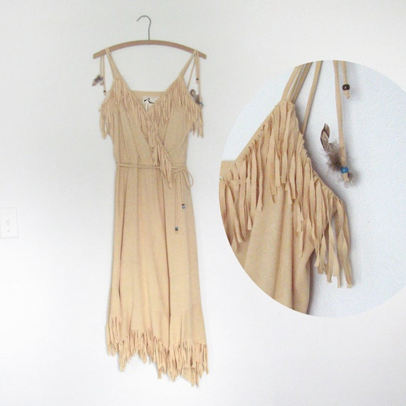 POW-WOW 70s Vintage Dress / Hippie / Native American / Feathers / Fringe / Beads / Boho Gypsy Folk Southwestern Tribal