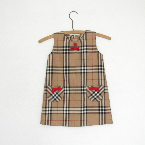 70s - 80s Vintage Childrens Plaid Shift Dress with Adorable Red Velvet Bows and Two Front Pockets