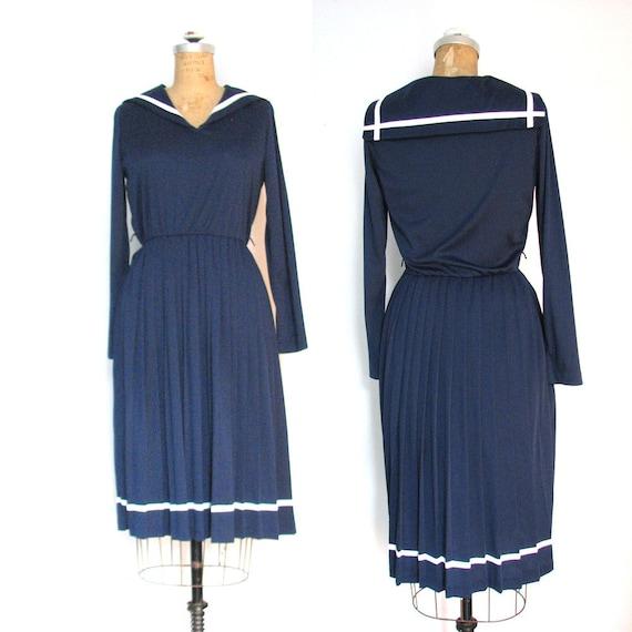 60s Nautical Dress / Sailor Neck / Long Sleeve / Pleated Skirt