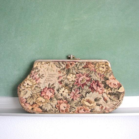 Vintage Tapestry Clutch / Bag / Purse / Wallet / Carpet Bag