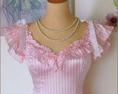 Reserved For Carol, Do Not Purchase, Fabulous Vintage Pink & White GUNNE SAX Party DRESS By Jessica McClintock
