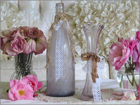 RESERVED For rudyrebecca, Pretty Vintage LAVENDER BOTTLE and Vase, French Farmhouse, Shabby Chic
