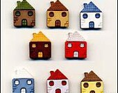 House Buttons Yellow Red White Blue Yellow Brown