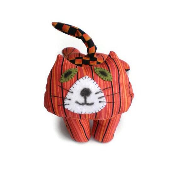 Kitten Softie Cat Art Doll Orange Black Stripes Checks Norman Kitten