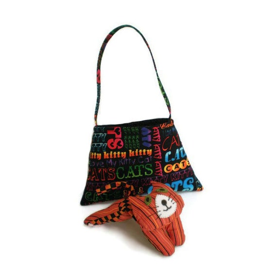 Cats Print Tote Bag Purse Kitten Carrier Cat Lover's or  Child's Bag Neon Rainbow Colors Words on Black Option 1 OOAK