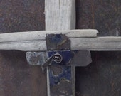 Metal and Driftwood Cross with metal rose