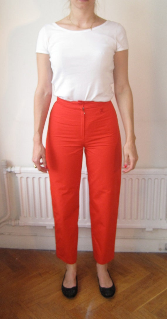 Vintage 60s courreges red trousers pants high waist  mod