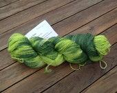 Hand-dyed sock yarn, green and lime
