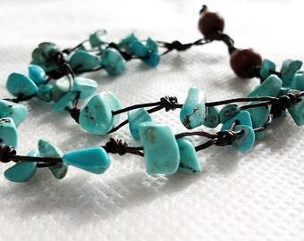 handmade bracelet anklet 112 vintage turquoise stone