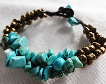 handmade bracelet anklet 117 vintage turquoise with gold beads