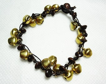 handmade bracelet anklet 172 vintage gold bell beads stone boho gypsy