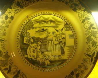 Black Transferware Plate Signed on Front  Anglo-Japanese