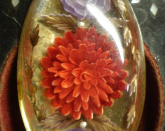 Lucite, Brass Brooch with Hand Carved Florals