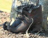Grungy Primitive Black Witch Boots