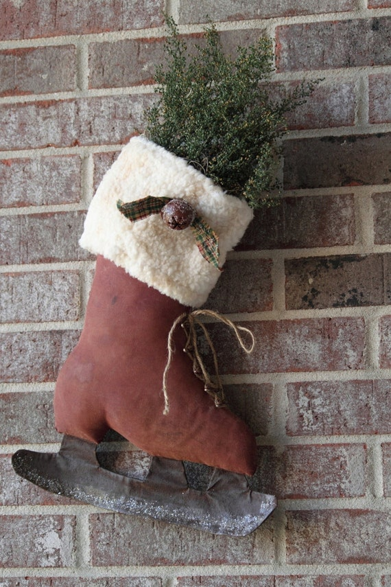 Primitive Winter Christmas Red Ice Skate Hang filled with Sweet Annie Herb