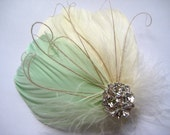 Wedding Bridal Bridesmaid Ivory Light Mint Green Feather Rhinestone Jewel Head Piece Hair Clip Fascinator Accessory