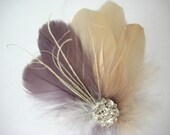 Wedding Bridal Champagne Purple Off White Feather Rhinestone Jewel Head Piece Hair Clip Fascinator Accessory