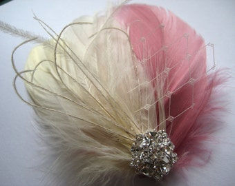 Wedding Bridal Ivory Antique French Pink Feather Rhinestone Jewel Veiling Head Piece Hair Clip Fascinator Accessory