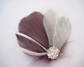 Wedding Bridal Purple Silver Grey Feather Rhinestone Jewel White Veiling Head Piece Hair Clip Fascinator Accessory