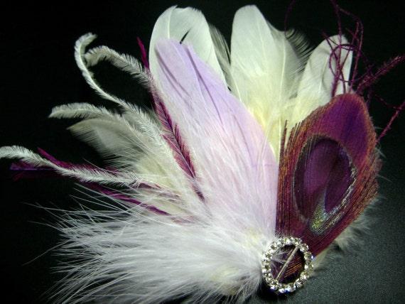 Wedding Bridal Headpiece White Ivory Plum Purple Peacock Feather Rhinestone Jewel Hair Piece Clip Fascinator Accessory READY TO SHIP