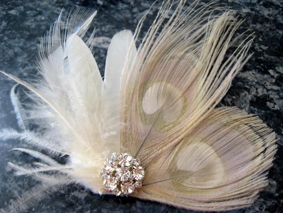Wedding Bridal Ivory Champagne Peacock Feather Rhinestone Jewel Head Piece Hair Clip Fascinator Accessory
