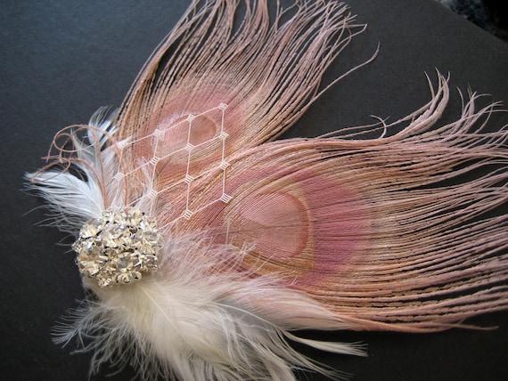 Wedding Bridal White Dusty Pink Peacock Feather Rhinestone Jewel Ivory Veiling Head Piece Hair Clip Fascinator Accessory