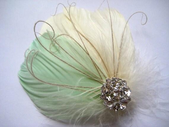 Wedding Bridal Bridesmaid Ivory Light Mint Green Feather Rhinestone Jewel Head Piece Hair Clip Fascinator Accessory