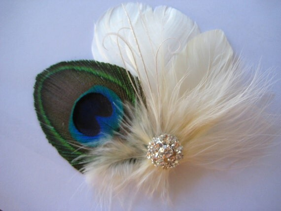 Wedding Bridal Peacock Ivory Feather Rhinestone Jewel Head Piece Hair Clip Fascinator Accessory