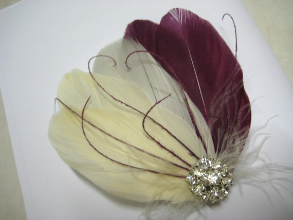 Wedding Bridal Bridesmaid Ivory Purple Sangria Plum Feather Rhinestone Jewel Head Piece Hair Clip Fascinator Accessory