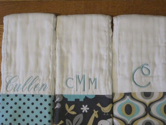 Personalized Embroidered Baby Boy Burp Cloth Set