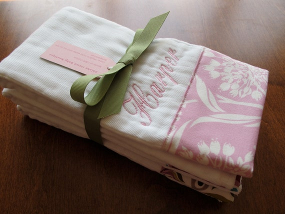 Personalized Embroidered Burp Cloths - Baby Girl Set