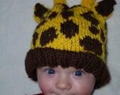 Baby Giraffe Hat Pattern (knit)
