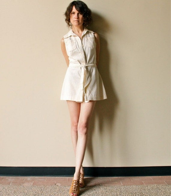 Culottes Shorts Jumpsuit - vintage 60s 70s cream belted onesie sleeveless playsuit shirt romper