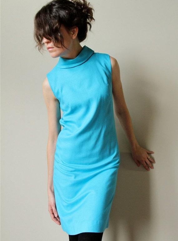 60s Mod Dress - vintage Mad Men era robins egg blue fitted wiggle shift with sheer floral print swing jacket