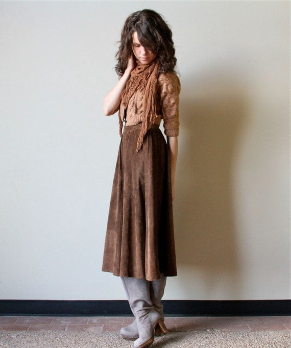 80s Leather Midi Skirt - vintage gathered dirndl, buttery soft chocolate brown suede, bohemian winter woodland luxury