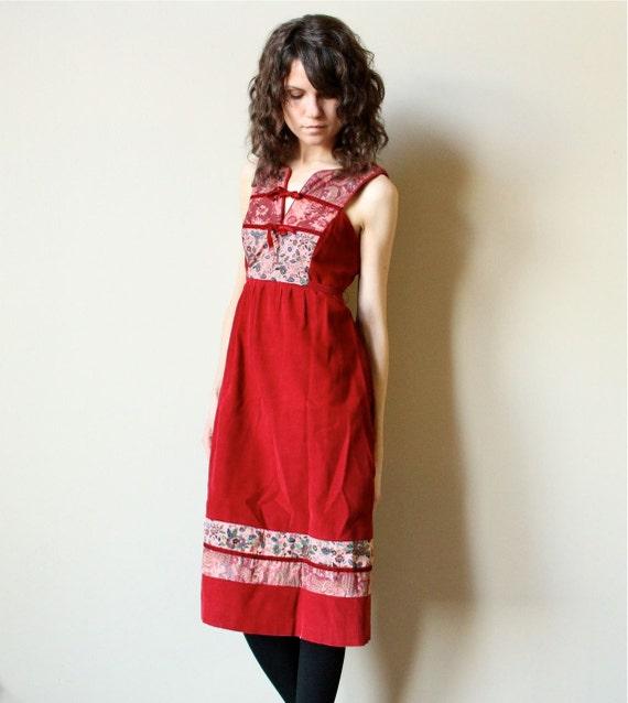 70s Corduroy Hippie Dress - vintage rose pink bohemian Prairie jumper with patchwork panels & velvet bows,