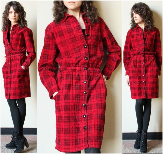 80s Buffalo Plaid Corduroy Dress red black prep shirtdress, grunge Fall hiking outdoor Autumn in America style