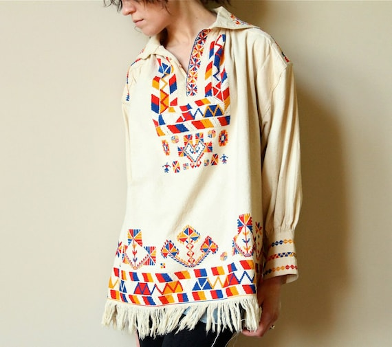 60s Embroidered Hippie Shirt - vintage Native American boho rustic fringed tunic, primary color folk art hand embroidery, red, blue, yellow