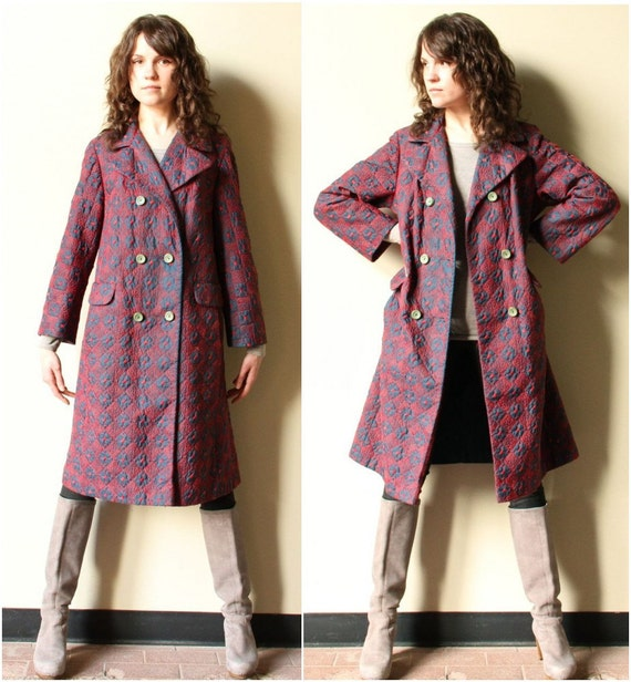 Navy & Red 60s Mod Coat - vintage Mad Men era preppy embroidered graphic geometric pattern double breasted jacket, all weather outerwear