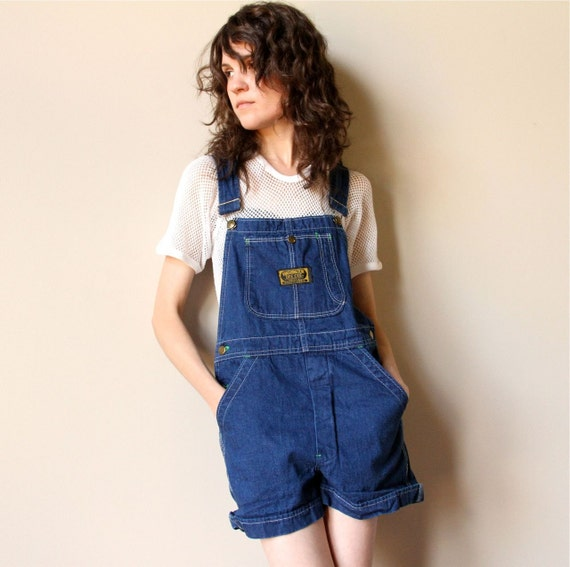 Short Shorts Denim Overalls - vintage 60s worn in Dee Cee blue jean dungaree jumpsuit, rolled cuff shorts, Spring Summer Americana work wear