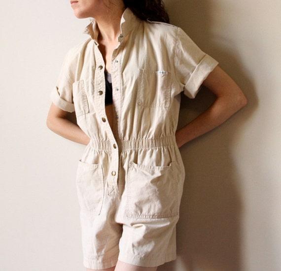80s Khaki Safari Jumpsuit - vintage neutral light tan Spring Summer lightweight cotton shorts romper, slouchy, outdoor hiking & camping vibe